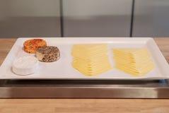 Διάφοροι τύποι τυριών στον άσπρο δίσκο για το συστατικό ορεκτικών και τροφίμων στοκ φωτογραφία