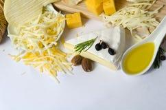 Διάφοροι τύποι τυριών στοκ φωτογραφία