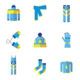 Διάφοροι τύποι χειμερινών ενδυμάτων και εξαρτημάτων μπλε εικονογράμματα Στοκ φωτογραφίες με δικαίωμα ελεύθερης χρήσης