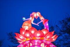 Διάφοροι φωτεινοί κινεζικοί μικροί λαμπτήρες στο πάρκο Γιρλάντα Ένα ασυνήθιστο ντεκόρ για τις οδούς και το σπίτι Εορταστική διάθε στοκ εικόνα