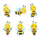 Διάφοροι χαρακτήρες κινουμένων σχεδίων των μελισσών με το μέλι διανυσματική απεικόνιση