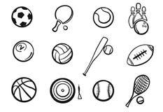 Διάφορος αθλητικό σκιαγραφημένο εξοπλισμός σύνολο σφαιρών ελεύθερη απεικόνιση δικαιώματος