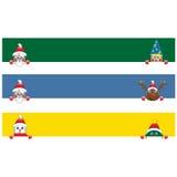 Διάφορο έμβλημα με το διάσημο χαρακτήρα Χριστουγέννων διανυσματική απεικόνιση