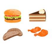 Διάφορο διάνυσμα πιάτων τροφίμων (χάμπουργκερ, κέικ, ψωμί, κρέας κοτόπουλου) Στοκ Εικόνες