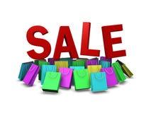 Διάφορο χρώμα της τσάντας αγορών στην προώθηση πώλησης, πορεία ι ψαλιδίσματος απεικόνιση αποθεμάτων