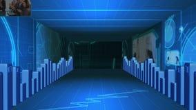 Διάδρομος των στατιστικών στοιχείων με τα βίντεο για την επιχείρηση φιλμ μικρού μήκους