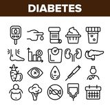 Διαβήτης, γραμμικά διανυσματικά εικονίδια διαγνωστικών ασθενειών καθορισμένα απεικόνιση αποθεμάτων