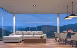 Διαβίωση και τραπεζαρία σπιτιών γυαλιού σκηνής νύχτας με την τρισδιάστατη δίνοντας εικόνα θέας βουνού Στοκ εικόνα με δικαίωμα ελεύθερης χρήσης