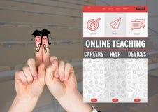Διαβαθμισμένοι χαρακτήρες δάχτυλων και μια σε απευθείας σύνδεση App διδασκαλίας διεπαφή Στοκ Φωτογραφία
