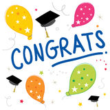 Διαβαθμισμένο διανυσματικό σχέδιο χρώματος μπαλονιών κειμένων Congrats ελεύθερη απεικόνιση δικαιώματος