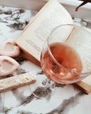 Διαβασμένη έμπνευση ευχαρίστηση βιβλίων γυαλιού κρασιού στοκ εικόνες