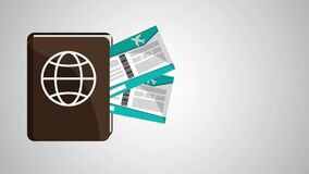 Διαβατήριο και καθορισμός εισιτηρίων HD διανυσματική απεικόνιση