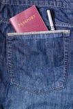 Διαβατήριο και μάνδρα στην τσέπη του Jean Στοκ Εικόνα