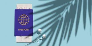 Διαβατήριο, πέρασμα τροφής, εισιτήριο αεροπλάνων στην άποψη επιτραπέζιων κορυφών Σκιά φοινικών Έννοια μινιμαλισμού του ταξιδιού τ στοκ εικόνα