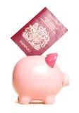 διαβατήριο τραπεζών piggy Στοκ εικόνες με δικαίωμα ελεύθερης χρήσης