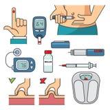 Διαβητικά εικονίδια γραμμών θεραπείας καθορισμένα στο επίπεδο σχέδιο Στοκ Φωτογραφίες