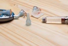 διαβητική μάνδρα με τις βελόνες και τον ελεγκτή Στοκ εικόνες με δικαίωμα ελεύθερης χρήσης