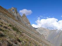 Διαβρωμένοι βράχοι κοντά στο στρατόπεδο βάσεων Tilicho, Νεπάλ Στοκ Εικόνες