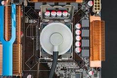 Διαγνωστικά ενός παλαιού επεξεργαστή στηθοσκοπίων Στοκ Φωτογραφία