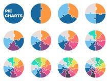 Διαγράμματα πιτών για το infographics Διαγράμματα με 1 - 12 μέρη Στοκ φωτογραφία με δικαίωμα ελεύθερης χρήσης