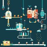 Διαγράμματα infographics εργοστασίων Cupcake Στοκ Εικόνα