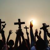 Διαγώνια καθολική χριστιανική κοινοτική έννοια θρησκείας Στοκ Φωτογραφία