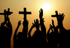 Διαγώνια καθολική χριστιανική κοινοτική έννοια θρησκείας Στοκ φωτογραφία με δικαίωμα ελεύθερης χρήσης