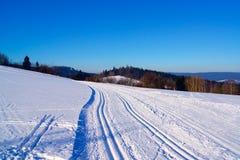 Διαγώνια να κάνει σκι χωρών διαδρομή στο χιόνι Στοκ εικόνες με δικαίωμα ελεύθερης χρήσης
