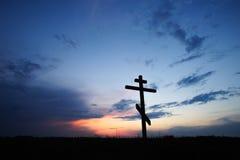 Διαγώνια σκιαγραφία με το ηλιοβασίλεμα στοκ φωτογραφία με δικαίωμα ελεύθερης χρήσης