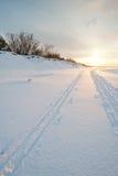 Διαγώνιες διαδρομές σκι χωρών στην παραλία Στοκ Εικόνες