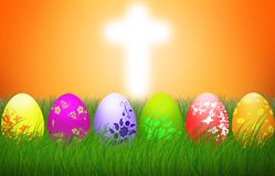 Διαγώνιες ζωηρόχρωμες διακοπές υποβάθρου θρησκείας αυγών Πάσχας ελεύθερη απεικόνιση δικαιώματος