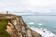 Διαγώνιος-padrand-σταυρός στο ακρωτήριο Roca, Sintra, Πορτογαλία στοκ φωτογραφία με δικαίωμα ελεύθερης χρήσης