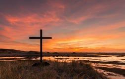 Διαγώνιο ηλιοβασίλεμα υγρότοπων Στοκ Φωτογραφία