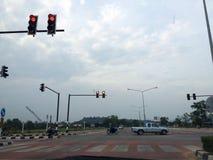 Διαγώνιο οδικό κόκκινο φως Στοκ εικόνες με δικαίωμα ελεύθερης χρήσης