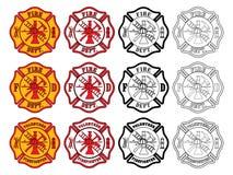 Διαγώνιο σύμβολο πυροσβεστών απεικόνιση αποθεμάτων
