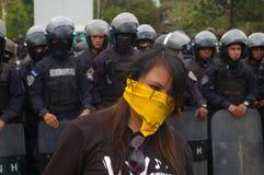 Διαδήλωση διαμαρτυρίας ενάντια στην επανεκλογή του Juan Ορλάντο Hernandez Ονδούρα στις 21 Ιανουαρίου 2018 22 στοκ εικόνες