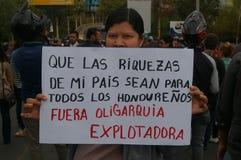 Διαδήλωση διαμαρτυρίας ενάντια στην επανεκλογή του Juan Ορλάντο Hernandez Ονδούρα στις 21 Ιανουαρίου 2018 Στοκ φωτογραφία με δικαίωμα ελεύθερης χρήσης