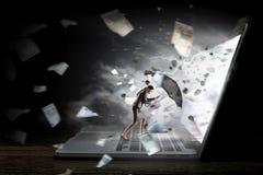 Διαδίκτυο και έννοια κυβερνοχώρου Μικτά μέσα Στοκ Φωτογραφία