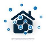 Διαδίκτυο των πραγμάτων, του ψηφιακών σπιτιού και της έννοιας σχεδίου δικτύων με τα εικονίδια Στοκ Εικόνες