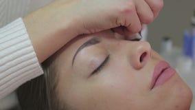 Διαδικασία επέκτασης Eyelash Μάτι γυναικών με τα μακροχρόνια eyelashes απόθεμα βίντεο