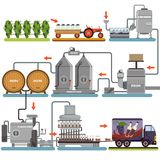 Διαδικασία παραγωγής κρασιού, ποτό παραγωγής από τις επίπεδες διανυσματικές απεικονίσεις σταφυλιών διανυσματική απεικόνιση