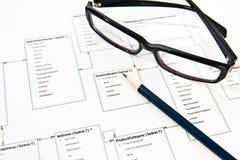 Διαδικασία σχεδίου βάσεων δεδομένων Στοκ Φωτογραφία