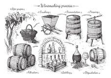 Διαδικασία της παραγωγής κρασιού απεικόνιση αποθεμάτων