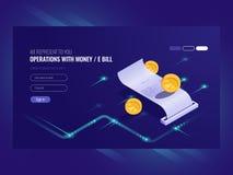 Διαδικασίες με τα χρήματα, ηλεκτρονικός λογαριασμός, νόμισμα, chash συναλλαγή, σε απευθείας σύνδεση isometric διάνυσμα πληρωμής διανυσματική απεικόνιση