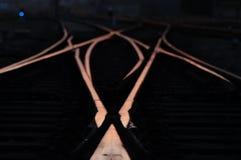 διαδρομές ηλιοβασιλέματος ραγών Στοκ φωτογραφία με δικαίωμα ελεύθερης χρήσης