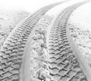 διαδρομές ροδών χιονιού Στοκ Φωτογραφία