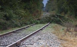 Διαδρομές σιδηροδρόμου που εμποδίζονται μετά από τον τυφώνα Φλωρεντία στοκ εικόνες