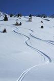 διαδρομές χιονιού σκι σκ στοκ φωτογραφία με δικαίωμα ελεύθερης χρήσης