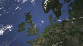 Διαδρομή ενός εμπορικού αεροπλάνου που πετά Νιουκάσλ, Ηνωμένο Βασίλειο στο χάρτη Τρισδιάστατη ζωτικότητα εισαγωγής ελεύθερη απεικόνιση δικαιώματος