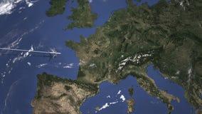 Διαδρομή ενός εμπορικού αεροπλάνου που πετά στη Βέρνη, Ελβετία στο χάρτη Τρισδιάστατη ζωτικότητα εισαγωγής ελεύθερη απεικόνιση δικαιώματος